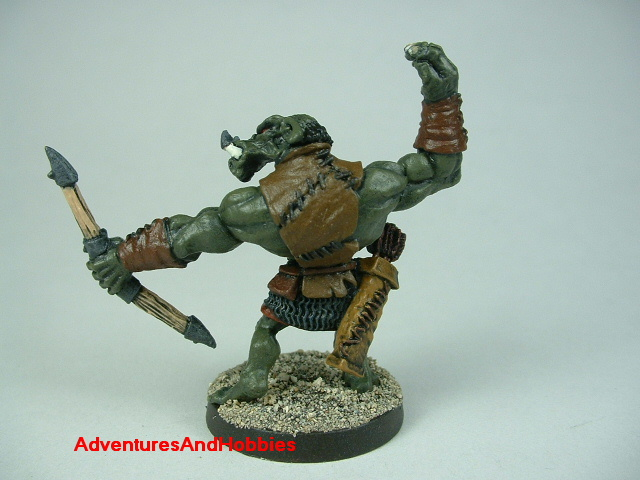Orc archer firing bow painted figure for fantasy role-playing games and table top war games rear view