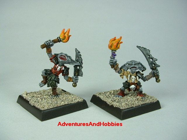 Group A pair of goblin warriors with swords and torches painted figure for fantasy role-playing games and table top war games - front view