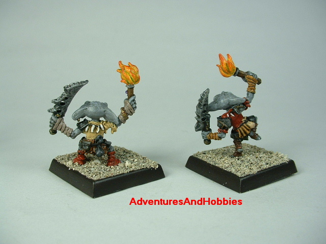 Group A pair of goblin warriors with swords and torches painted figure for fantasy role-playing games and table top war games - rear view