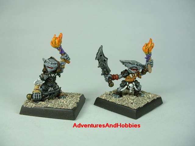 Group B pair of goblin warriors with swords and torches painted figure for fantasy role-playing games and table top war games - front view