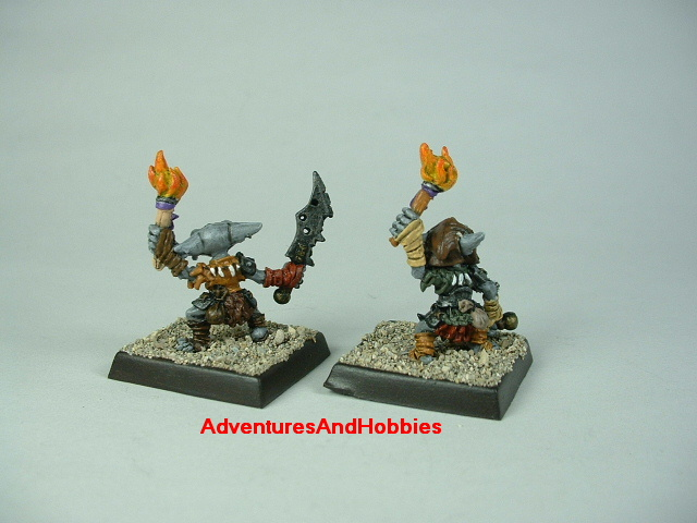 Group B pair of goblin warriors with swords and torches painted figure for fantasy role-playing games and table top war games - rear view