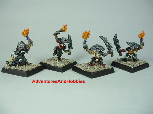 Goblin war band with swords and torches painted figure for fantasy role-playing games and table top war games
