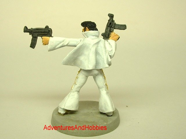 Elvis King of Rock and Roll Zombie Hunter 25 mm painted miniature fugure for war games and role-playing games rear view.