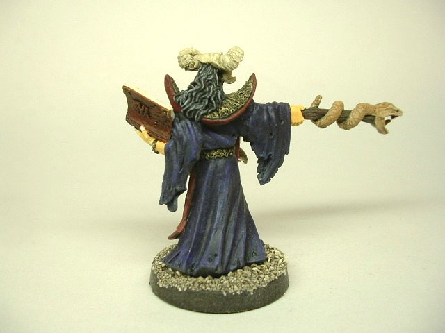 Evil wizard casting spell painted fantasy D&D miniature figure 25 - 28 mm scale rear view 2
