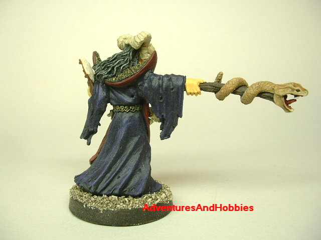 Evil wizard casting spell painted fantasy D&D miniature figure 25 - 28 mm scale rear view