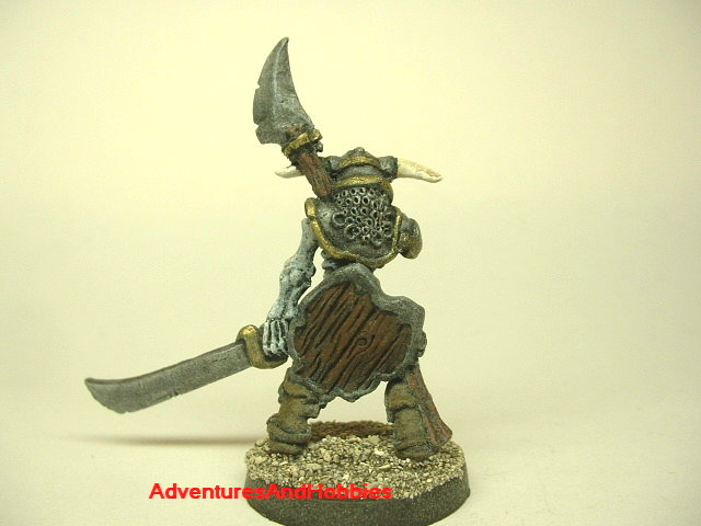 Evil skeleton knight with two-handed sword painted fantasy miniature figure 25 - 28 mm scale rear view