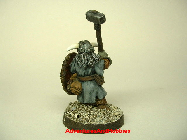 Dwarven warrior with warhammer and shield 25mm painted fantasy miniature - rear