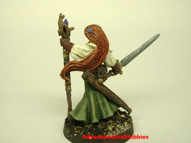 Female Elven Magic User and Warrior with longsword and crystl staff painted fantasy miniature 25mm - rear view 2