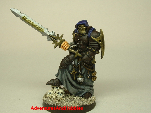 Evil paladin knight 28mm painted fantasy figure for use in role-playing games and table top war games front