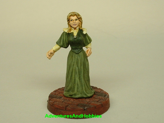 Victorian British Lady painted figure for use in role-playing games and table top war games front