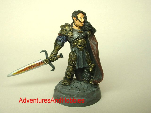 Evil paladin knight with magical longsword 28 mm painted fantasy figure for use in role-playing games and table top war games front view