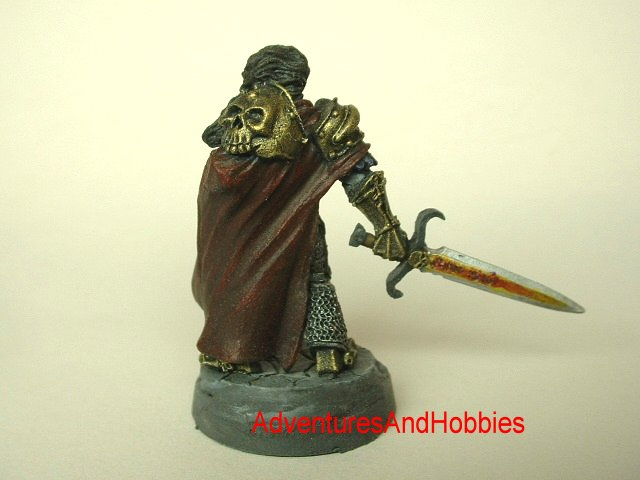 Evil paladin knight with magical longsword 28 mm painted fantasy figure for use in role-playing games and table top war games rear view