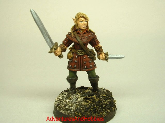 Female Elf warrior 25 mm painted figure for role-playing games and table top war games front view