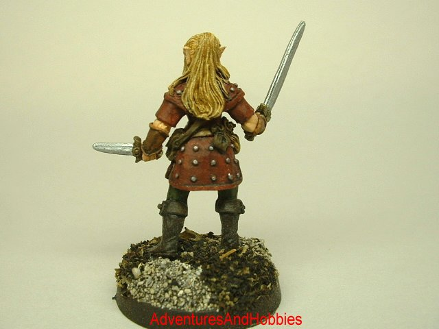 Female Elf warrior 25 mm painted figure for role-playing games and table top war games rear view