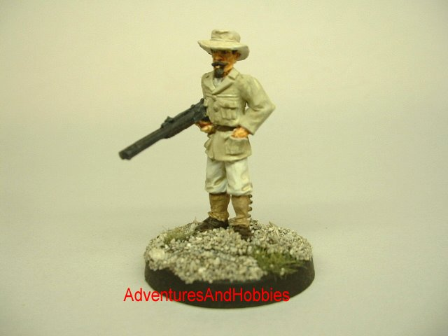Allan Quatermain pulp hero 25 mm painted figure for use in role-playing games and table top war games front view