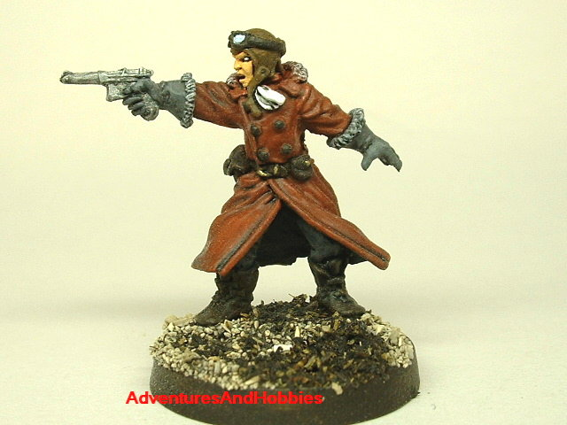 Pulp steampunk aviator with machine pistol 25 mm painted figure for role-playing games and table top war games front view