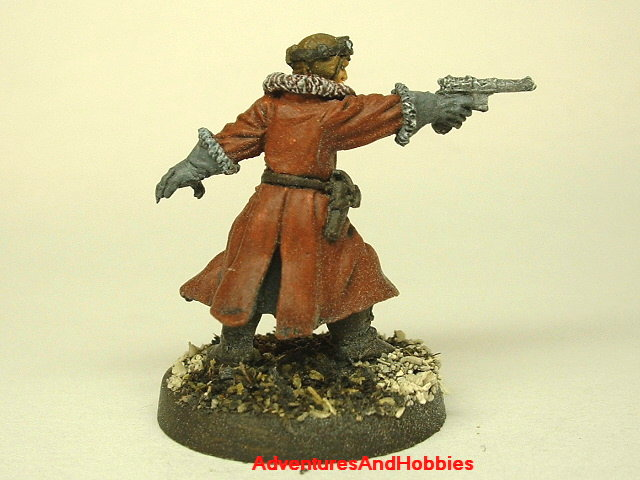 Pulp steampunk aviator with machine pistol 25 mm painted figure for role-playing games and table top war games rear view