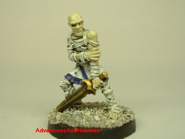 Egyptian mummy with sword painted figure for role-playing games and table top war games front view
