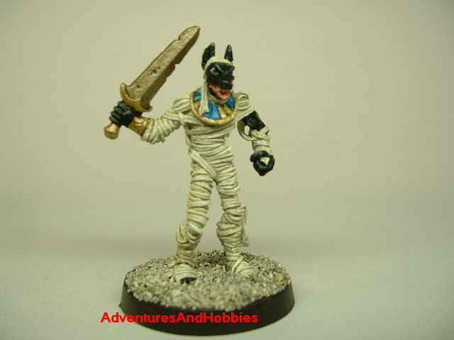 Anubis Egyptian mummy with sword painted figure for role-playing games and table top war games front view