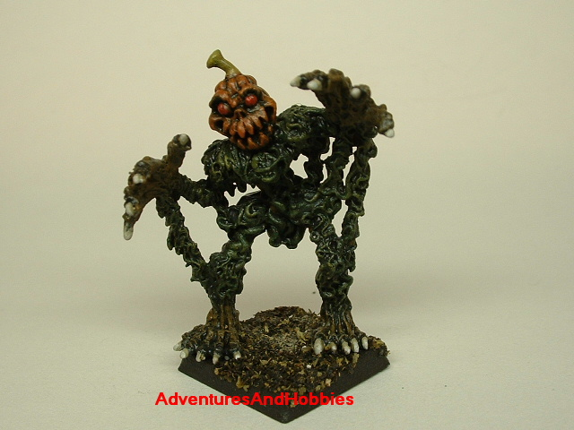 Halloween horror pumpkin patch monster painted figure for role-playing games and table top war games front view