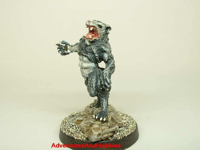 Werewolf monster painted figure for role-playing games and table top war games 25mm side view