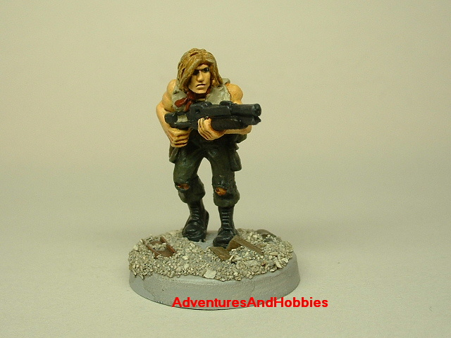 Post apocalypse survivor with combat shotgun painted 25 mm figure for role-playing games and table top war games front view
