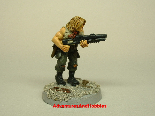 Post apocalypse survivor with combat shotgun painted 25 mm figure for role-playing games and table top war games side view