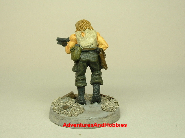 Post apocalypse survivor with combat shotgun painted 25 mm figure for role-playing games and table top war games rear view