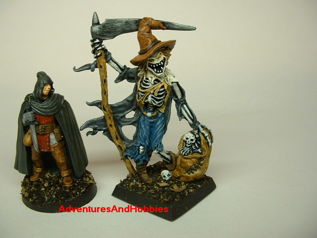 Giant Halloween Scarecrow monster painted figure with 25mm figure for size comparison for role-playing games and table top war games