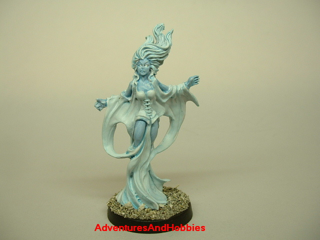 Female ghost rising from grave painted figure for role-playing games and table top war games front view