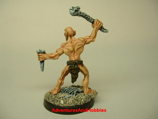Ghoul attacking with bone weapons painted figure for horror and fantasy role-playing games and table top war games rear view