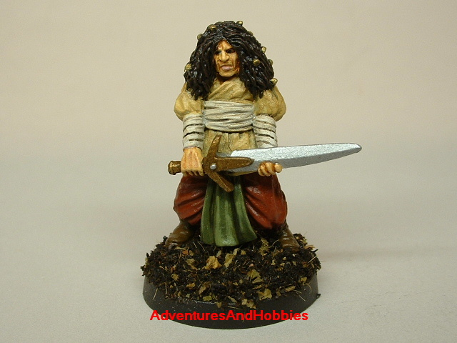 Master swordsman warrior with longsword painted figure for fantasy role-playing games and table top war games front view