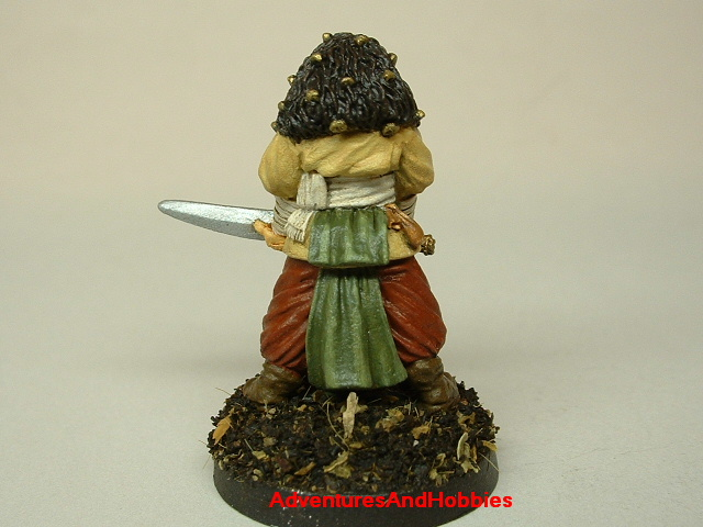 Master swordsman warrior with longsword painted figure for fantasy role-playing games and table top war games rear view